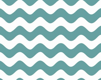 Half Yard Wave - Waves in Teal Blue - Cotton Quilt Fabric - RBD Designers for Riley Blake Designs - C415-26 (W3290)
