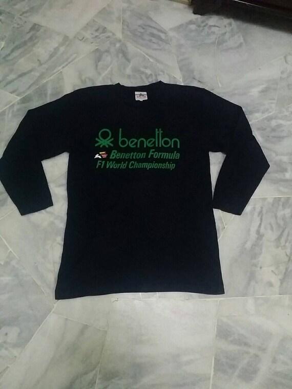 Vintage Benetton long sleeve spellout black colour M size vW2gEaZ
