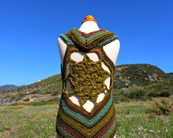 Earth toned Flower of Life crochet vest