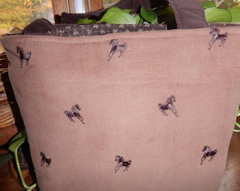 10% OFF SALE!  Brown Corduroy Bag with Embroidered Horses