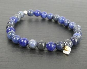 Sodalite Bracelet Stretch 2 Hearts Charm Bracelet Bridesmaid Gift Beaded Stackling Bracelet Handmade