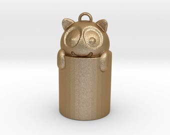 Happy Cat in a bin!  Gold colour Steel and Bronze Charm Pendant or Key fob
