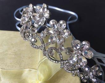 Flowers tiara, wedding bridal jewelry headband, Swarovski rhinestone crystals crown, hair comb tiara, bridal headpiece, bridal tiara, engage