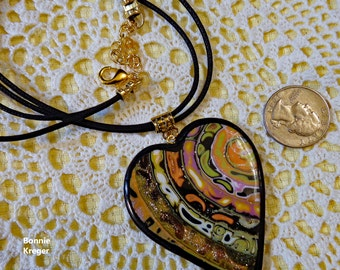 Black and Gold Swirled Pendant and Necklace