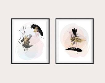 Modern Art Print, Abstract Painting, Pastel Colors, Watercolor engraving, Contemporary Draw, Scandinavian Art, Wabi-Sabi