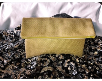 Yellow, gold, vinyl, fold over, clutch