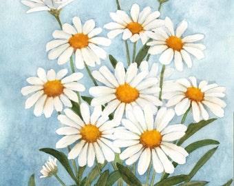 White Daisies Watercolor Painting Reproduction by Wanda's Watercolors