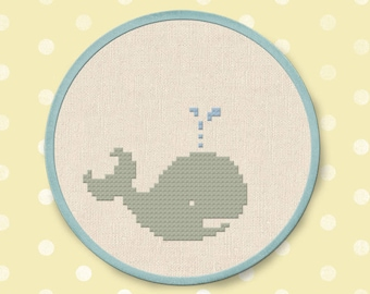 Cute Whale Cross Stitch Pattern, Animal Cross Stitch, Modern Simple Cute Cross Stitch Pattern PDF Instant Download