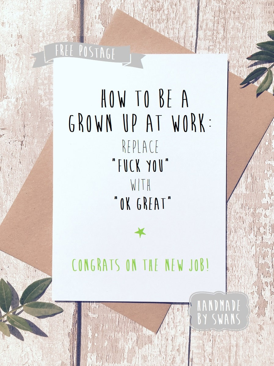 New Job Card Leaving Card Funny Greeting Card Funny Card