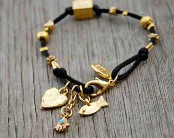 Black Kabbalah 72 Named Of God Charms Bracelet - Handmade on Silk Cord with Lobster Clasp