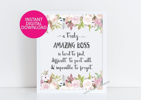 boss Gift, An amazing boss is hard to find, Office Decor, Printable boss Gift, retirement Custom Quote Print, Gift for boss, Amazing