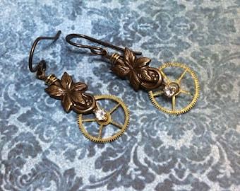 Real Steampunk gear cog crystal handmade earrings vintage watch parts - Mechanical Romance