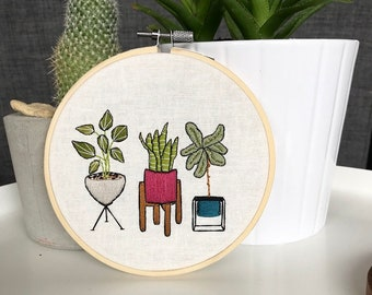 Three modern potted plants embroidery wall home decor