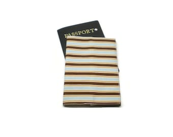 Stripes brown and blue passport cover, case, holder. Man passport wallet. Monogrammed personalized.