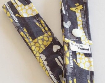 Toy Strap, Sophie Strap, Toy Tether, Sippy Cup Strap, Toy Leash, Teething Toy Strap, Grey Crosses, Giraffe Love