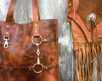 Equestrian Tote Bag - Snaffle Horse Bit -Distressed Heavy Leather in Rusty Brown Autumn Harvest Leather - Large Leather Bag - by Stacy Leigh