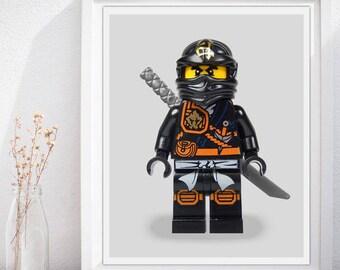 Lego Ninjago Black, Ninjago Prints, Ninjago Poster, Ninjago Wall Art, Kids Nursery Room Wall Art Poster Print, Home Decor - INSTANT DOWNLOAD