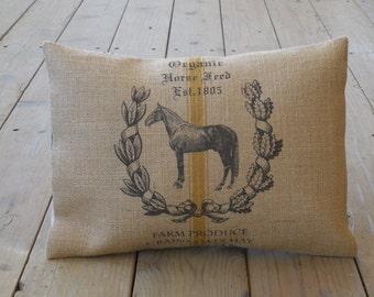 Feedsack Horse Burlap Pillow, Farm2, Shabby Chic Decor, Farmhouse Pillows, INSERT INCLUDED