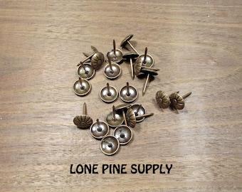 Brass Upholstery Tacks, 100 Upholstery Nails, Antique Brass Upholstery Tacks.