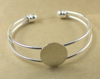 2PCS Brass Silver Bracelet with 18mm Round Pad Cabochon Setting BLB02b