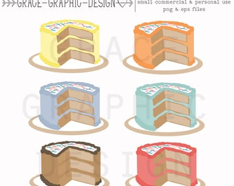 Clipart, Birthday Cake Clipart, Food Clipart, Cake Clipart, Commercial Use Graphics, Digital Download Graphics, Cake Graphics, Clipart Set