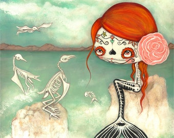 Day Of The Dead Girl Print Cute Dead Zombie mermaid Bird Skeleton Wall Art LARGE PRINT 11 x 14