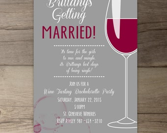 Wine Party Invitation • Bachelorette Party Invites • Bridal Shower • Wine Tasting Tours • Girls Night • DIY printable