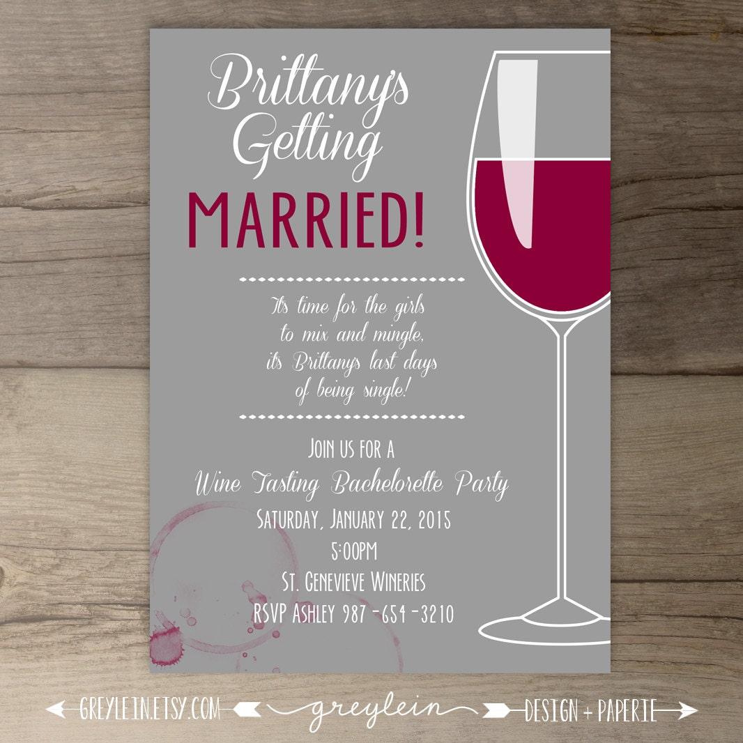 Wine Party Invitation Bachelorette Party Invites Bridal