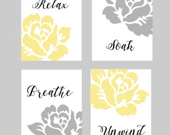 Yellow and Grey Bathroom Wall Art, Bathroom Wall Decor, Yellow and Gray, Floral Bathroom Art, Bathroom Prints, You Choose Colors,Set of four