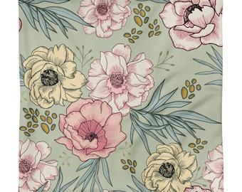 Vintage Floral Square Pillow Case only