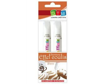 2 PENCILS ASSORTED FAUX GROUT EFFECT, WHITE ICING TOPPING