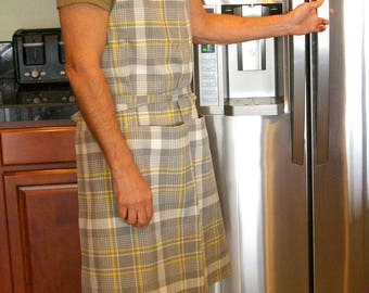 Gray Plaid Man Apron - 6 Pocket Man Apron with Towel Loop - Size L to 3XLT