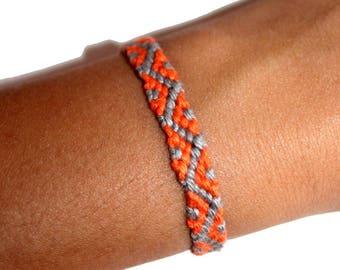 """Friendship Bracelet model """"Oceania"""", unisex, orange and gray"""