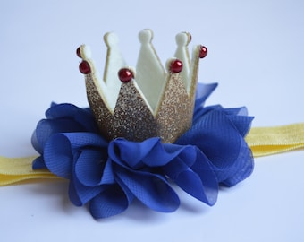 Snow White Baby Crown - Blue and Gold Baby Crown - Princess Crown - First Birthday Crown - Snow White Toddler Crown - Baby Crown Headband