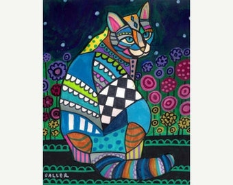 50% SALE- CAT Folk art  Poster Print of  Painting  by Heather Galler Flowers (Hg271)