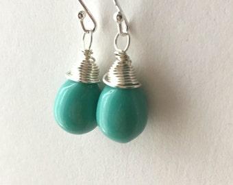 Turquoise Teardrop Earrings. Glass Bead Drop Earrings. Sterling Silver Earrings. Wire Wrapped Earrings. Briolette Earrings. Wedding Earrings