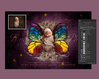 Digital backdrop - PSD file with layers - Newborn felted wool butterfly 2  - Beautiful Digital background