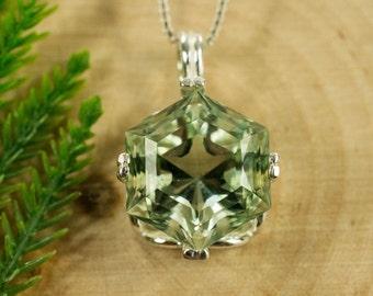 Green Amethyst Sterling Silver Pendant