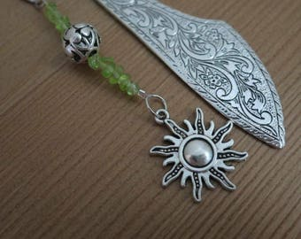 Metal bookmark - gemstone beads with metal sun
