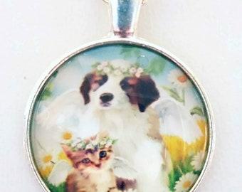 Dog Cat Necklace Art Glass Pendant Dog Cat Angel Rescue Necklace Unique Jewelry Dog Cat Art Rescue Dog Lover Cat Lover Animal Lover Jewelry