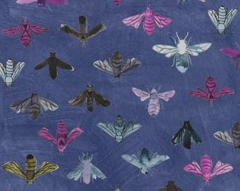 Save the Bees Denim Cotton Woven, Dreamer by Carrie Bloomston for Windham Fabrics
