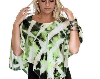 Green and White Abstract Geometric Pattern - Tied Dyed Shibori Silk Poncho