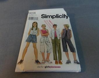 Girls Shirt, Pants or Shorts and Knit Tank Top, Size 7, 8, 10, 12, 14, Uncut Pattern, Simplicity 9208