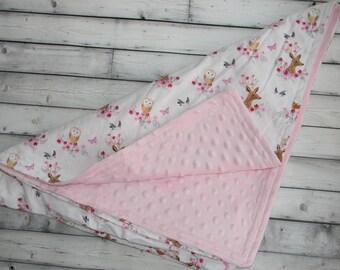 Soft pink minky baby girl blanket