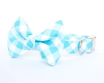 Dog Bowtie Collar - Turquoise Gingham