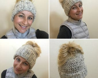 Messy Bun Hat with a Brim