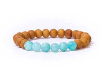 Natural authentic sandalwood amazonite bracelet | adventure, truth, freedom, yoga bracelet | gift for her | healing energy