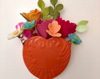 Coral Heart Valentine's Day felt flowers