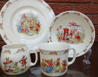 Royal Doulton BUNNYKINS Set Plate Bowl Mugs Hat Shop Knitting Letterbox