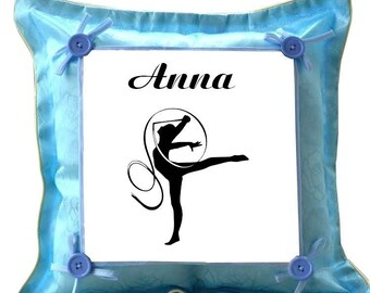 Gymnastics blue pillow personalized with name